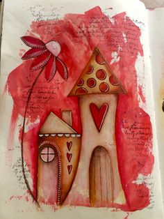 Sweet home art journal page !! #art #acrylics #artjournal #artjournalling #artjournalpage #dylusionsjournal #flowers #houses #journal #layers #mixedmedia #mixedmediaart #paint #pencils #polychromos #sketch #whimsy #whimsyhouses