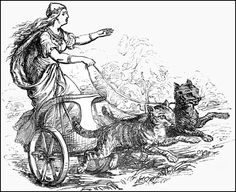 """Freyja rides her chariot pulled by two gray cats. Image: Plate from the """"Manual of Mythology�: Greek and Roman, Norse, and Old German, Hindoo and Egyptian Mythology,"""" published in 1865 by Alexander Murray.  {{PD-US}}"""