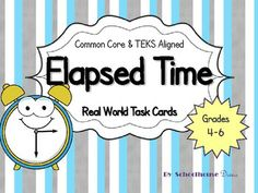 This activity is great for 4th – 6th grade students and can be used in many ways: • Small groups • Centers • Extended Activity • Enrichment • Intervention   There are 24 mixed elapsed time task cards included. Many of the cards include real word problems and require higher order thinking skills to solve. $