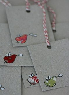 adorable fabric and hand drawn details gift tags and cards - My DIY Tips Fabric Birds, Fabric Scraps, Card Tags, Gift Tags, Greeting Card, Christmas Tag, Christmas Crafts, Diy Gifts, Handmade Gifts