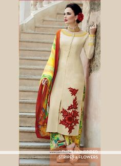 Make the heads flip as soon as you dress up with this beige cotton satin designer palazzo salwar suit. Look ravishing clad in this dress that& enhanced embroidered and print work. Comes with matching. India Fashion, Ethnic Fashion, Asian Fashion, Ethnic Outfits, Indian Outfits, Indian Attire, Indian Wear, Pakistani Outfits, Estilo Retro