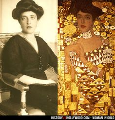 "Adele Bloch-Bauer and Gustav Klimt's ""Portrait of Adele Bloch-Bauer I"". See 'Woman in Gold: History vs. Hollywood' - http://www.historyvshollywood.com/reelfaces/woman-in-gold/"