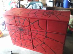 Spiderman dresser. Could use the same concept and paint on canvas for wall art
