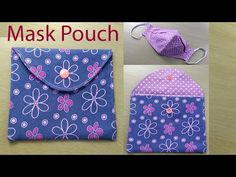 Face Mask Pouch Bag Sewing Tutorial   Can Use as Purse or Credit Cards Holder   bolsa de mascarilla - YouTube Small Sewing Projects, Sewing Hacks, Sewing Tutorials, Sewing Patterns, Tutorial Sewing, Skirt Patterns, Dress Tutorials, Sewing Diy, Coat Patterns