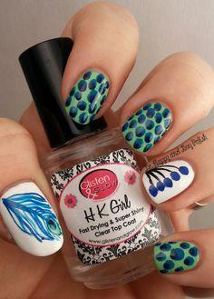 Peacock-Print inspired nail art  #nails #white #hkgirl #polkadots #polish - bellashoot.com