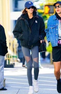 Kaia Gerber wears leggings while out on the town. Find out how to wear leggings outside the gym like Kaia. Kaia Gerber, Gerbera, Cocoon Jackets, Spanx Faux Leather Leggings, How To Wear Leggings, Nordstrom, Winter Leggings, Models Off Duty, Celebrity Outfits