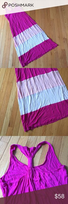 """CK pink racer back maxi dress Sz 14 Silky sleeveless maxi with striped shades of pink.  Perfect resort wear for your vacation. Length approx. 52"""" bust across pit to pit 18"""" but stretchy fabric. e Calvin Klein Dresses Maxi"""