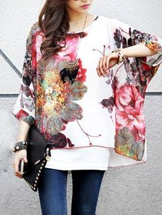 Ethnic Style Scoop Neck Floral Pattern Batwing Sleeve Women's Blouse