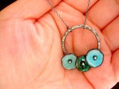 Poppy Bouquet Necklace in Sea Mix Fine Enamel Jewelry MADE TO ORDER. $85.00, via Etsy.