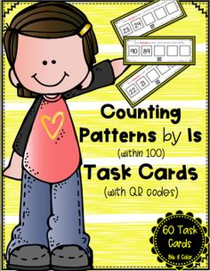 Looking for a fun and interactive way for students to practice counting by 1s within 100?  On each task card, students are provided with two numbers and a set of directions.  Students will start with the given numbers and either count forward or backward by ones, writing the missing numbers.