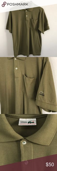 Vintage Chemise Lacoste Front Pocket Polo Shirt Rare Front Pocket Olive Green Lacoste Polo Shirt  Detailed Buttons  Excellent Condition   No rips   No stains  No holes Lacoste Shirts Polos