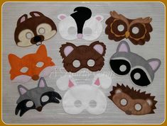 Felt Woodland Animal Mask Set of 9 - Owl Raccoon  Fox  Wolf & Others for Fancy Dress Up Pretend Play - Halloween Mask Party Mask School Play by AHeartlyCraft on Etsy