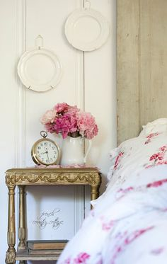 In the Cottage~ Summer Bedroom Details - Ahh summer. Summer means long lazy days, late nights under the stars toes in the warm sand at the beach fresh air loads of . French Country Bedrooms, French Country Cottage, French Country Decorating, White Cottage, Country Charm, Summer Bedroom, Single Rose, Guest Bedrooms, Guest Room
