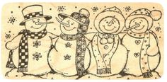 """{Single Count} Unique & Custom (4 3/4"""" by 2 1/2"""" Inches) """"Smiling, Caroling Snowman Group"""" Rectangle Shaped Genuine Wood Mounted Rubber Inking Stamp"""