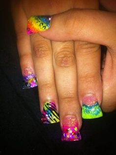 Hate duck feet nails but the design is great (: Colorful Nail Designs, Toe Nail Designs, Acrylic Nail Designs, Acrylic Nails, Nails Design, Fabulous Nails, Gorgeous Nails, Pretty Nails, Duck Feet Nails