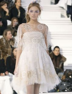 simple cream and gold baby doll dress with sheer embroidered over shirt, flowers in hair, ethereal, princess