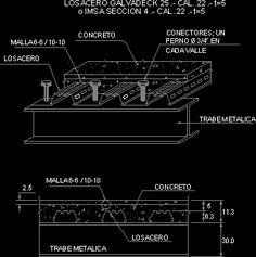 Planos de Detalle lamina colaborante, en Losacero - Sistemas Autocad, Metal Deck, Concrete Deck, Steel Structure Buildings, Steel Trusses, Steel Frame House, High Building, Steel Frame Construction, Steel Detail