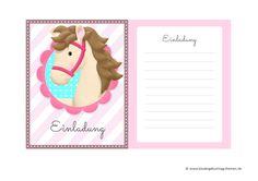 Einladungskarten Pferde zum Kindergeburtstag: kostenlose vorlagen zum Runterladen und Ausdrucken
