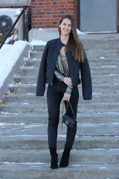 black moto jacket, metallic bodysuit, faux leather leggings