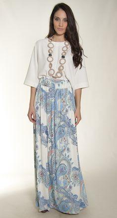 maxi skirt paisley print elbano www.elbano.gr
