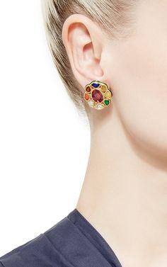 Raj Studs Navratna Earrings by Sanjay Kasliwal Stone Earrings, Stone Jewelry, Women's Earrings, Diamond Jewelry, Gold Jewelry, Diamond Earrings, Jewelry Necklaces, Colour Stone, Gold Jewellery Design