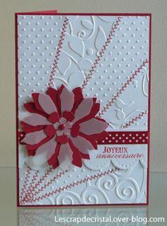 Voici une carte faite en suivant le sketch proposé par Garence chez 4enScrap. Un fond rouge, du gaufrage, un peu de couture, une grosse fleur, et hop, la carte est faite! Elle est partie (et arrivée!), chez Thérèse. Matériel: papier Bazzill et calque;...