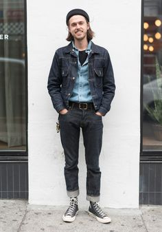 """sf-looks:     Jack,22   """"I'm wearing a Levi's Type II jacket, a Kapital Chambray shirt I picked up in Tokyo, and the jeans are a new fit made by me. My style is inspired by old school America, WWII garments, vintage work wear, Bruce Springsteen music – so as you can tell, lots of denim. Aside from that, I'd say my style is just a classic mid-century look, with a little twist.""""  Aug4,2016 ∙ Downtown    (Source: sf-looks)"""