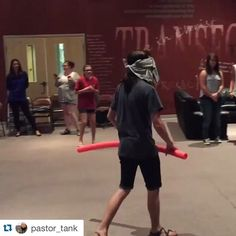Blind folded pool noodle Marco Polo. Idea and video by @pastor_tank #stumin #youthministryideas