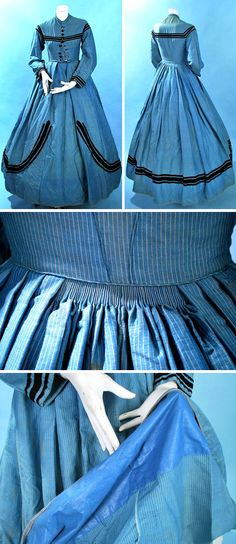 Blue indigo striped day dress, ca. 1860s. Wool blend with shaped and curved sleeves, front jet button closure, trimmed in black velvet on bodice & skirt. Tight cartridge-pleated back, fully lined in brown buckrum. Carolyn Forbes Textiles/ebay