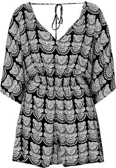 $68, Black Batik Print Playsuit by Topshop. Sold by Topshop. Click for more info: http://lookastic.com/women/shop_items/38882/redirect