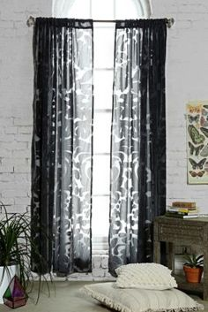Magical Thinking Ribbon Damask Curtain