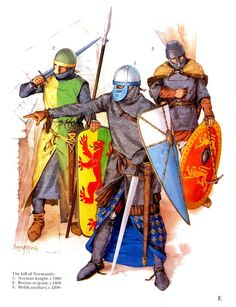 The fall of Normandy XIIw. : 1. Norman knight, c.1180 2. Breton serjeant, c.1160 3. Welsh auxiliary, c.1200
