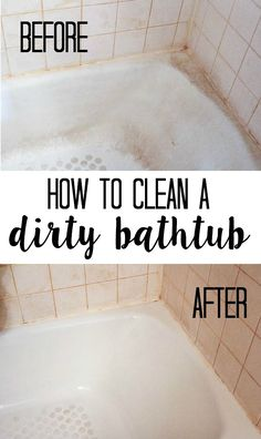 My old tub had a lot of stains and soap scum built up over the years. When I renovated the rest of the bathroom, the tub really stuck out. All it took was some household supplies to get it looking nice and clean! Here's how to clean a dirty tub. House Cleaning Tips, Diy Cleaning Products, Spring Cleaning, Cleaning Hacks, Cleaning Solutions, Old Bathtub, Clean Bathtub, How To Clean Tub, Bathtub Cleaner