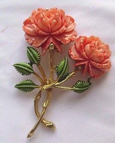 Vintage Gold Rose Flower Pin Brooch Faux Coral Painted Enamel Signed PELL
