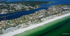 Aerial view of Okaloosa Island and Fort Walton Beach, Florida