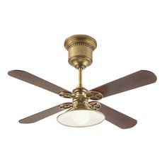 Kichler Lighting 52-in Painted Natural Brass Downrod Mount Indoor Ceiling Fan with Light Kit and Remote (4-Blade)