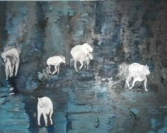 "'Goats on a cliff' 52""x 72"" oil on canvas.  By Jannicke Swing"