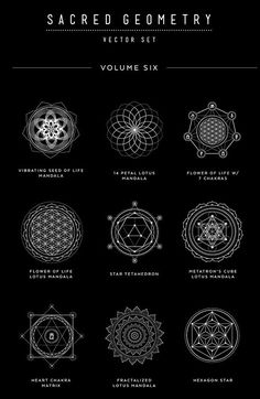 Sacred Geometry Vector Set Vol. 6 comes with 9 NEW completely unique handcrafted design elements! With new dotted line, circle patterns and sanskrit chakra elements, these symbols are unlike any other product out there. Always finding. Sacred Geometry Symbols, Sacred Geometry Tattoo, Magic Symbols, Ancient Symbols, Alchemy Symbols, Sanskrit Tattoo, Sanskrit Symbols, Chakra Tattoo, Yoga Symbols