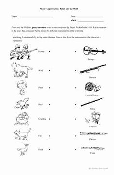 Peter and the Wolf Worksheet Inspirational Peter and the Wolf Worksheets and Writing Prompts – the – Chessmuseum Template Library Music Activities For Kids, Movement Activities, Peter Wolf, Elementary Music Lessons, Elementary Schools, Education Templates, Music Worksheets, Free Worksheets, Music Classroom