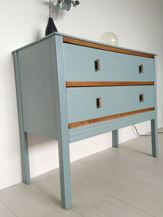Mid Century Chest of Drawers, Farrow and Ball Oval Room Blue and Teak by BeautifulPigInterior on Etsy Hall Furniture, Blue Furniture, Upcycled Furniture, Furniture Makeover, Vintage Furniture, Painted Furniture, Refinished Furniture, Hemnes Bed, Oval Room Blue