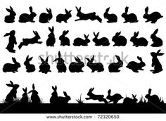 Rabbit Silhouettes Easter Decorations Stock Illustration 72320650 - Famous Last Words Silhouette Cameo, Rabbit Silhouette, Fairy Silhouette, Silhouette Painting, Rabbit Tattoos, Bunny Tattoos, Silhouettes, Vintage Easter, Easter Crafts
