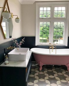 Pink freestanding bath, encaustic tiles, dark grey walls, marble and brass taps Upstairs Bathrooms, Grey Bathrooms, Beautiful Bathrooms, Large Bathrooms, Downstairs Bathroom, Bad Inspiration, Bathroom Inspiration, Pink Bathtub, Clawfoot Bathtub