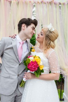 With its late early fashion and and a sugary pastel palette, Megan and Matthew's super cute Disney-infused wedding day is a retro-lover's dream. Pastel Palette, Cute Disney, Kitsch, Cry, Disneyland, Brides, Wedding Day, Super Cute, Dating