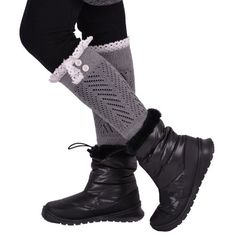 New Women's Cotton Lace Boot Cuffs with Lace Trim and Buttons Legwear Layering