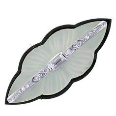 Art Deco Diamond, Crystal and Onyx Brooch, 1920