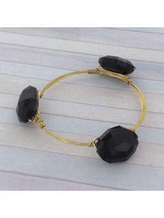 Handcrafted Black Crystal and Goldtone Wire Bangle #wiredbangle #baubles #designerinspired #baublesandbangles #wiredbracelet