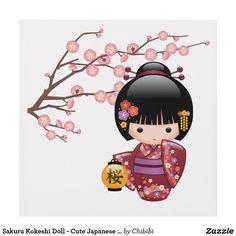 Sakura Kokeshi Doll - Cute Japanese Geisha Girl Panel Wall Art #cute #kawaii #kokeshi #geisha