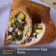 "Southwestern Egg Rolls | ""I made mine in an oven (450F+ heat) and wrapped them in whole wheat tortillas. Very good and lots of flavor!"""