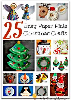 Do you love paper plate crafts too? Sharing 25 Easy Paper Plate Christmas Crafts for kids - Includes paper plate craft trees bells reindeer Santa Claus elves Frozen Olaf penguins & wreaths. Fun activities for all kids. Check out the post for lots o Preschool Christmas, Noel Christmas, Christmas Activities, Christmas Crafts For Kids, Christmas Projects, Simple Christmas, Winter Christmas, Holiday Crafts, Fun Activities