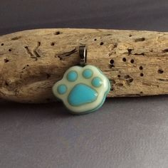 Turquoise Fused Glass Paw Pendant by Mesakatzdesigns on Etsy
